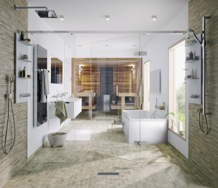 Im Trend: bodenebene Duschen, die mit rutschsicheren keramischen Fliesen belegt sind. (Foto: epr/VDF/Bärwolf)