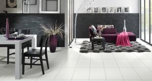 Ceramico-Laminat von Logoclic vereint Laminat und Steinfliese. Dadurch vereinen sich die Vorzüge – Natürlichkeit, Wärme und Pflege – von Laminat mit der edlen Optik eines Steinbodens. Bild: tdx/Logoclic