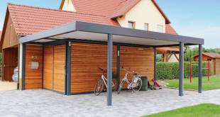 Fahrräder finden sowohl unter dem Carportdach als auch im Geräteraum mit breiter Tür genügend Schutz vor der Witterung. (Foto: epr/capotec)