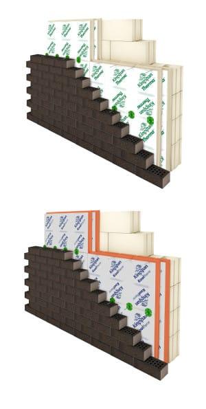Typischer Wandaufbau mit Resolhartschaumdämmung – hier: Kingspan Therma TW50 und Kooltherm K8. (Foto: epr/Kingspan Insulation)