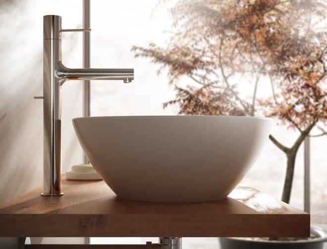 Die Einhebelarmaturen der Serie Joy von Jado wissen mit ihrem zeitlosen Design zu überzeugen. Der zylinderförmige Armaturenkörper lässt sich problemlos mit Einbauwaschbecken oder auch Aufsatzwaschbecken kombinieren. Bild: tdx/Ideal Standard