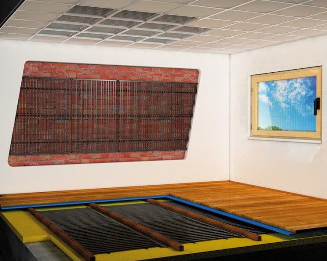In der Wand oder im Boden integrierte Heiz- und Kühlelemente sorgen für ein angenehmes Raumklima – und das ohne störende Zugluft! (Foto: epr/aquatherm)