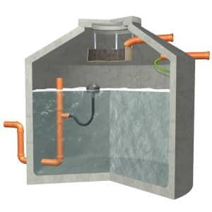 Die Zisternen fassen bis zu 13.000 Liter frisch gereinigtes Regenwasser. Je nach Version bieten sie neben der Regenwassernutzung die zusätzliche Möglichkeit der Versickerung oder Rückhaltung. Bild: tdx/Aquaroc Betonwerke
