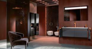 Dezente Extravaganz: Für die Serie Venticello, die auf moderne Ästhetik und filigranes Design setzt, gibt es die Griffe der Badmöbel nun auch kupferfarben. (Foto: epr/Villeroy & Boch)