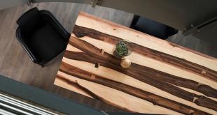 Die individuelle Maserung des Holzes macht jedes Stück zum Unikat. Eine Tischplatte aus Bergahorn setzt auf eindrucksvolle Kontraste durch die Kombination aus hellem und dunklem Holz. Bild: tdx/Scholtissek