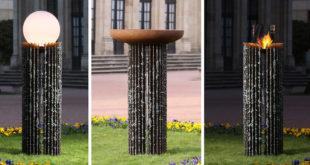 Mit vielfältigen möglichen Nutzungsvarianten ist die Stele Kalypso ein echtes Higlight in jedem Outdoorbereich. Bild: tdx/muenkel design