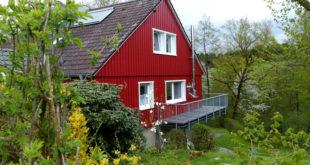 Idyllisch wohnen mitten im Grünen: Dafür hat es sich gelohnt, ein einfaches Fertighaus der 70er Jahre umfassend zu renovieren und zu modernisieren. Foto: djd/dena/Dehler