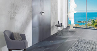 In diesem designstarken Bad wird die Dusche zum spritzigen Luxusmoment. (Foto: epr/Villeroy & Boch)