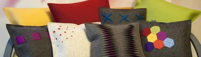 Designkissen in verschiedensten Designs Designfilz aus 100% Merinoschurwolle - mit Wollflocken gefüllt. Design made in Germany: monofaktur.de Foto: monofaktur.de