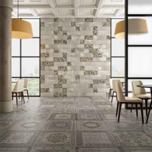 Wie aus Tausendundeiner Nacht: Das Orientteppichpatchwork von Aparici ist ein Beweis für die unbegrenzten Designmöglichkeiten, die die neuen Druckverfahren der Spanier bieten. (Foto: epr/Tile of Spain/Aparici)